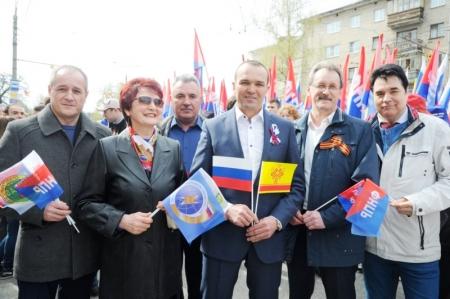 Глава Чувашии Михаил Игнатьев и профлидеры на Первомае.